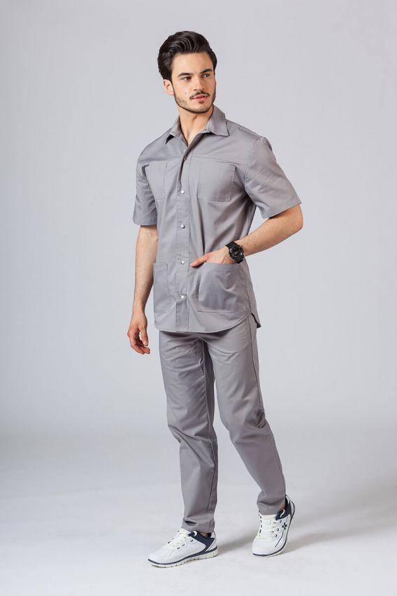 bluzy-medyczne-meskie Klasyczna bluza medyczna męska szara