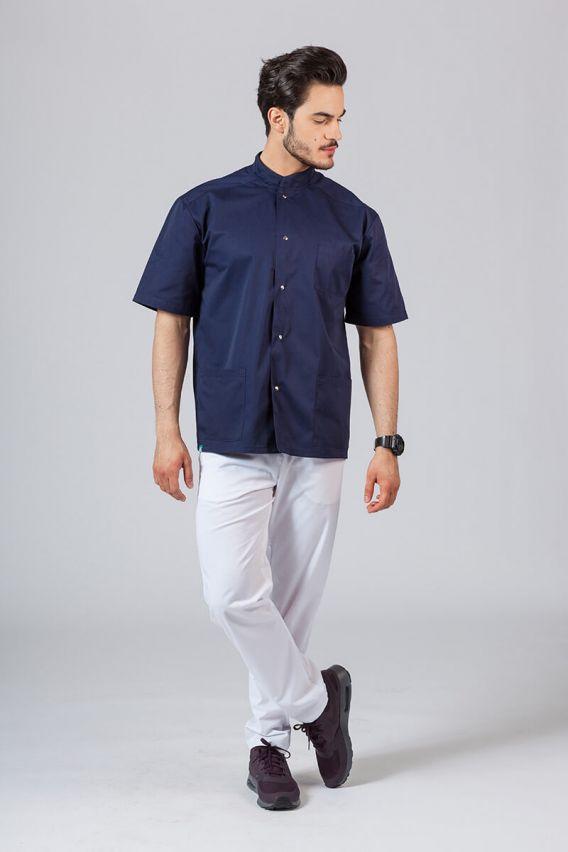 bluzy-medyczne-meskie Koszula/bluza medyczna męska ze stójką ciemny granat