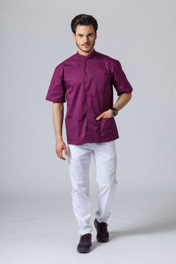 bluzy-medyczne-meskie Koszula/bluza medyczna męska ze stójką oberżyna
