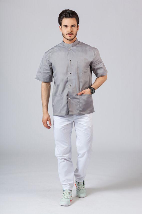 bluzy-medyczne-meskie Koszula/bluza medyczna męska ze stójką szara