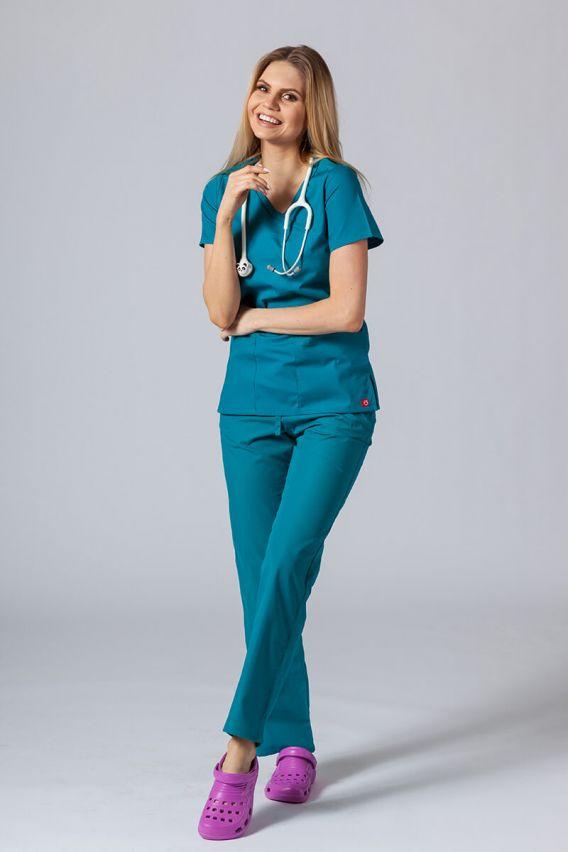 bluzy-medyczne-damskie Bluza damska Maevn Red Panda Asymetric morski błękit
