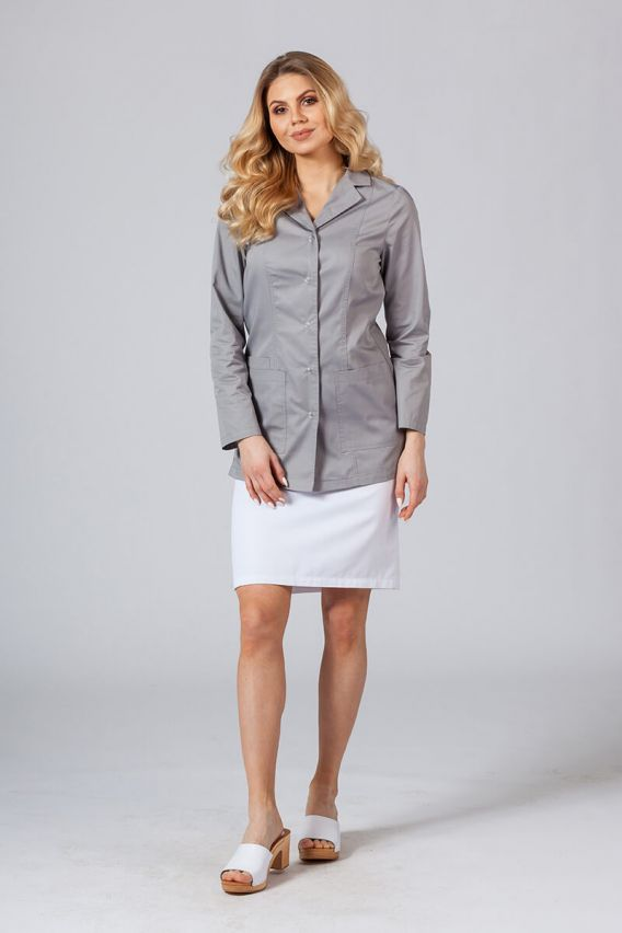 fartuchy-medyczne-damskie Fartuch medyczny Sunrise Uniforms krótki z długim rękawem szary