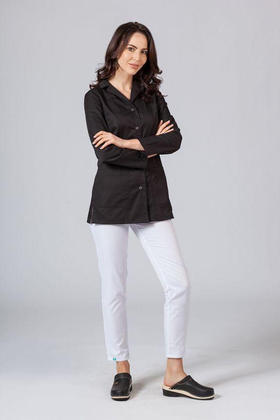 fartuchy-medyczne-damskie Fartuch medyczny Sunrise Uniforms krótki z długim rękawem czarny