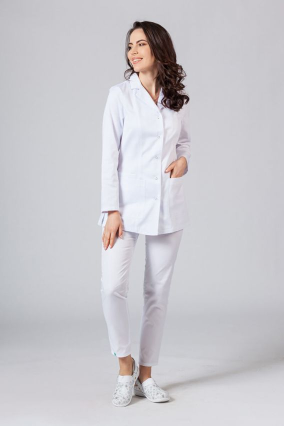 fartuchy-medyczne-damskie Fartuch medyczny Sunrise Uniforms krótki z długim rękawem biały