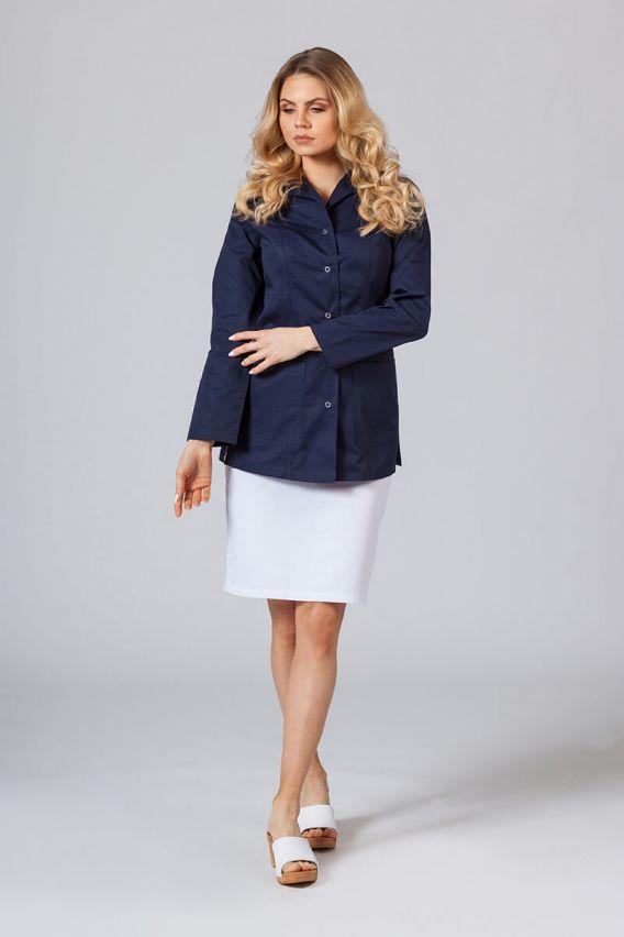 fartuchy-medyczne-damskie Fartuch medyczny Sunrise Uniforms krótki z długim rękawem ciemny granat