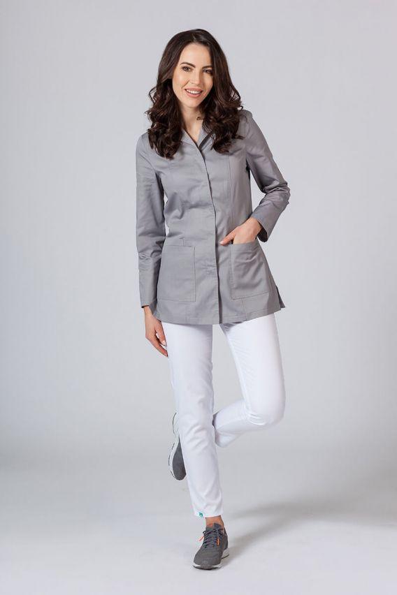 fartuchy-medyczne-damskie Fartuch medyczny Sunrise Uniforms krótki z długim rękawem (kryte napy) szary