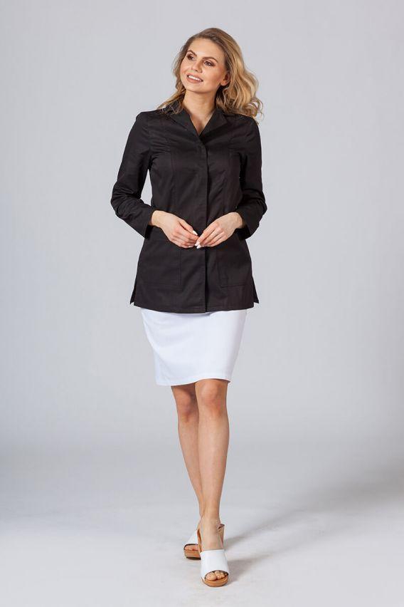 fartuchy-medyczne-damskie Fartuch medyczny Sunrise Uniforms krótki z długim rękawem (kryte napy) czarny