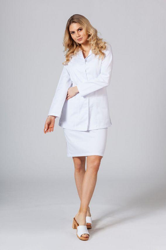 fartuchy-medyczne-damskie Fartuch medyczny Sunrise Uniforms krótki z długim rękawem (kryte napy) biały