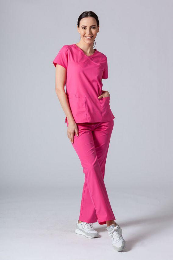 bluzy-medyczne-damskie Bluza damska Maevn Red Panda Asymetric różowa