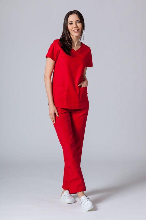 bluzy-medyczne-damskie Bluza damska Maevn Red Panda Asymetric czerwona