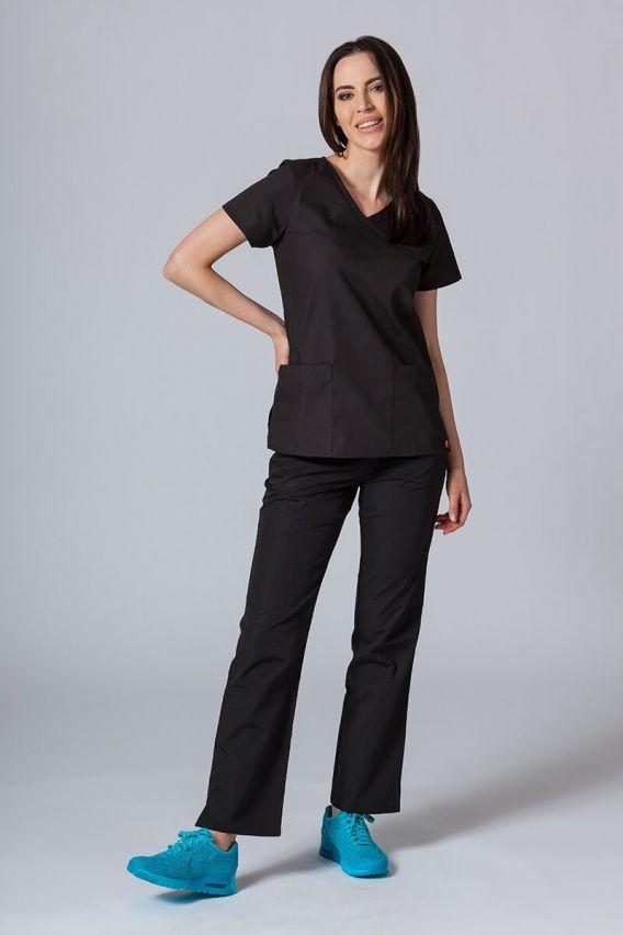 bluzy-medyczne-damskie Bluza damska Maevn Red Panda Asymetric czarna