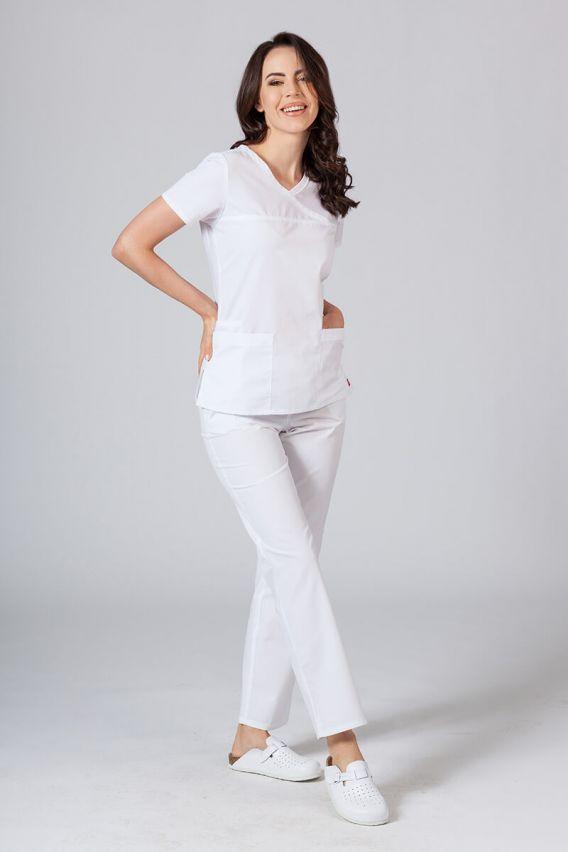 bluzy-medyczne-damskie Bluza damska Maevn Red Panda Asymetric biała