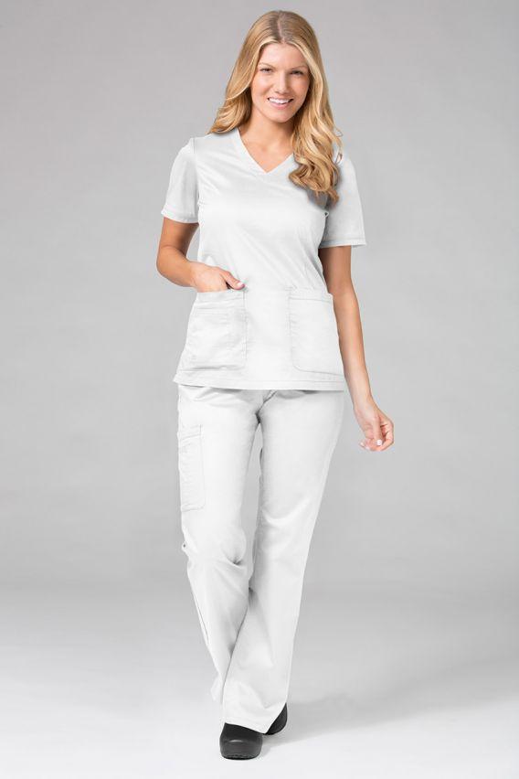 bluzy-medyczne-damskie Bluza damska Maevn Blossom (elastic) biała