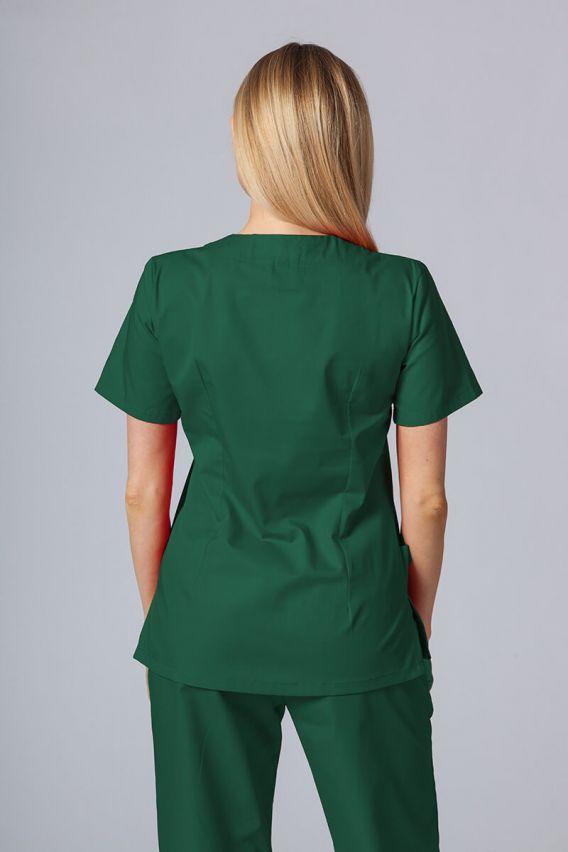 bluzy-medyczne-damskie Bluza medyczna damska Sunrise Uniforms butelkowa zieleń taliowana