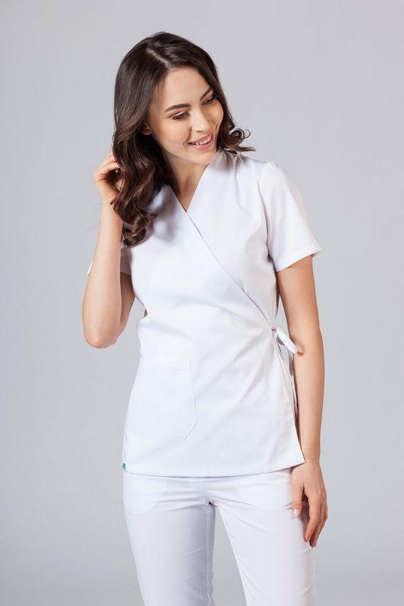 bluzy-medyczne-damskie Fartuszek/bluza damska wiązana Sunrise Uniforms biała