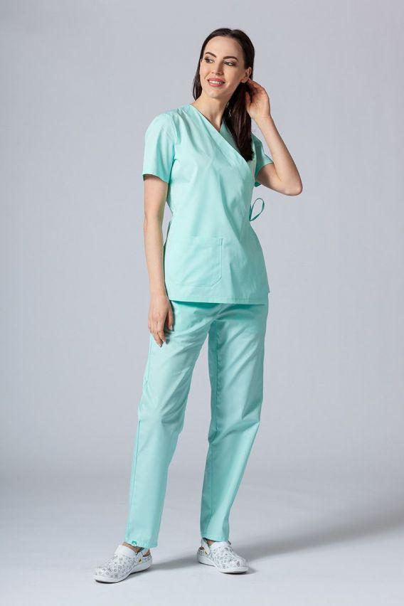 bluzy-medyczne-damskie Fartuszek/bluza damska wiązana Sunrise Uniforms miętowa