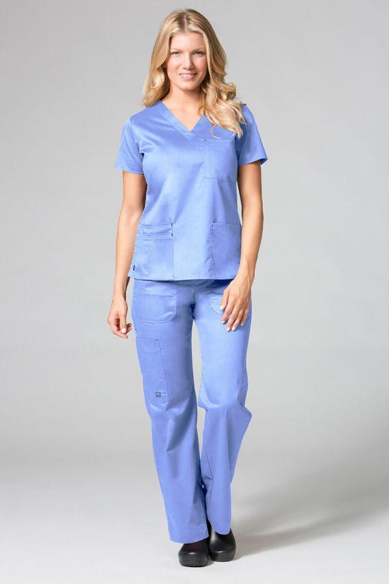 bluzy-medyczne-damskie Bluza damska Maevn Blossom (elastic) klasyczny błękit