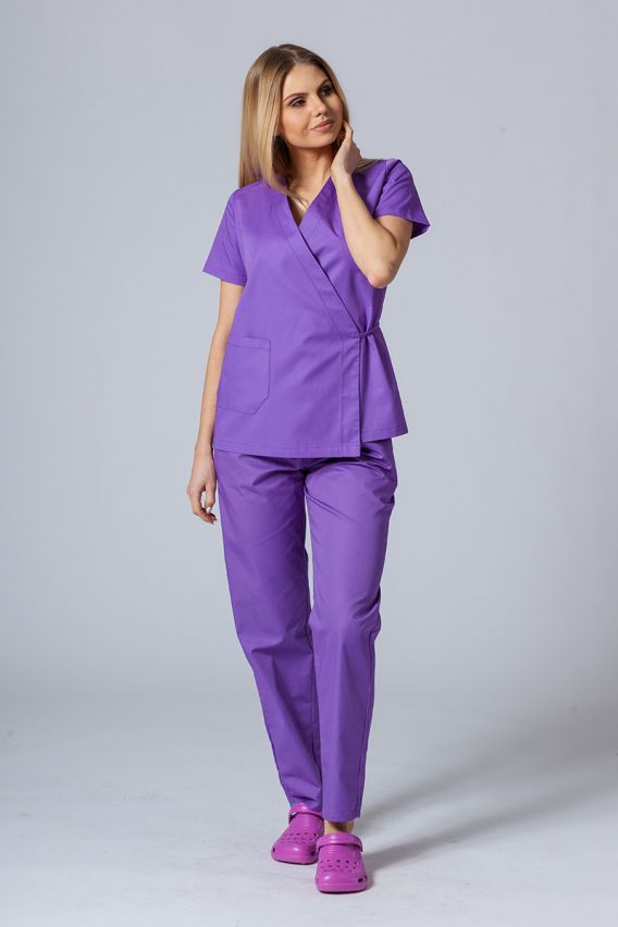 bluzy-medyczne-damskie Fartuszek/bluza damska wiązana Sunrise Uniforms fioletowa