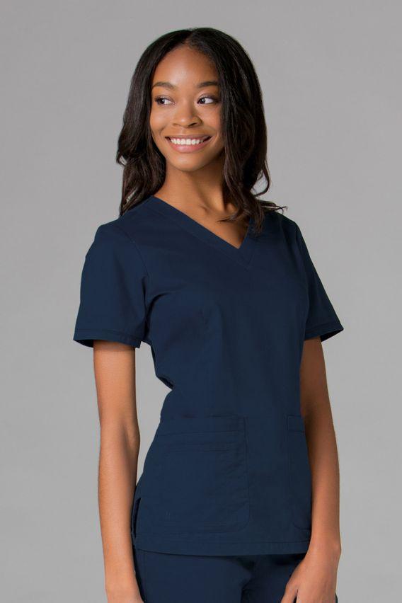 bluzy-medyczne-damskie Bluza damska Maevn Blossom (elastic) ciemny granat
