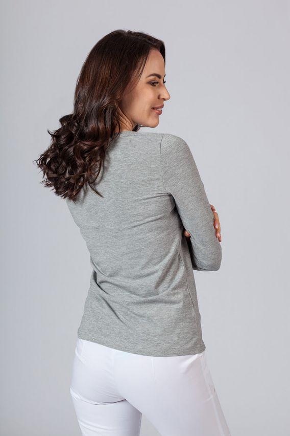 koszulki-medyczne-damskie Koszulka damska z długim rękawem ciemnoszary melanż