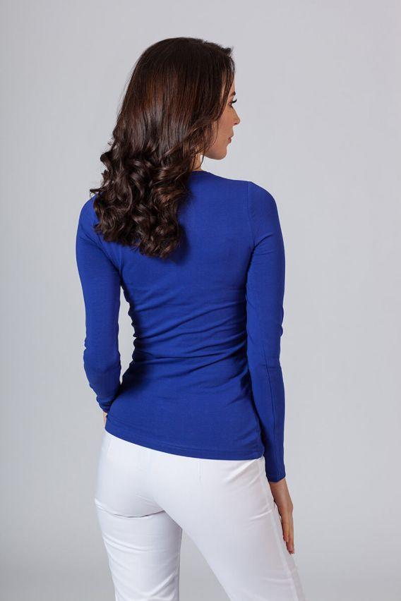 koszulki-medyczne-damskie Koszulka damska z długim rękawem chabrowa