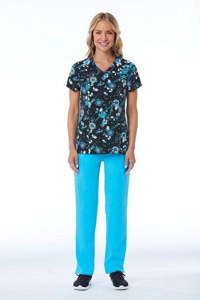 bluzy-we-wzory Kolorowa bluza damska Maevn Prints niebieski bukiet