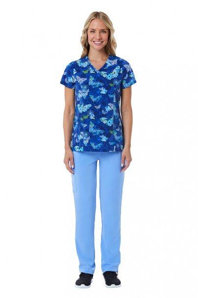 bluzy-we-wzory Kolorowa bluza damska Maevn Prints niebieskie motyle
