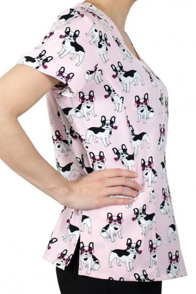 bluzy-we-wzory Kolorowa bluza damska Maevn Prints buldogi francuskie