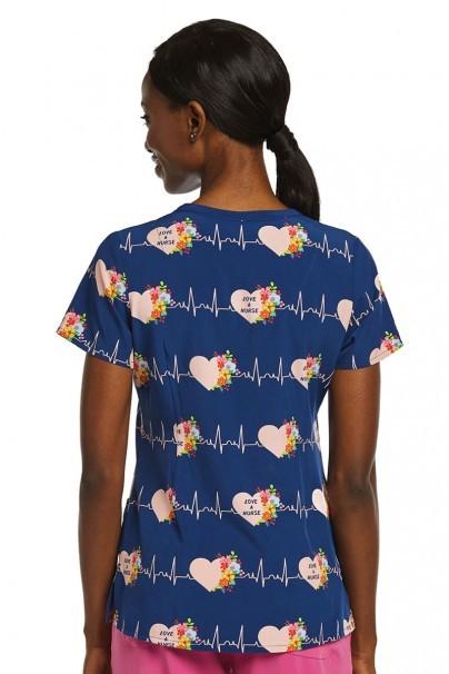 bluzy-we-wzory Kolorowa bluza damska Maevn Prints bicie serca