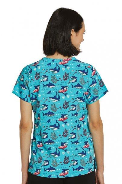 bluzy-we-wzory Kolorowa bluza damska Maevn Prints surf rekin