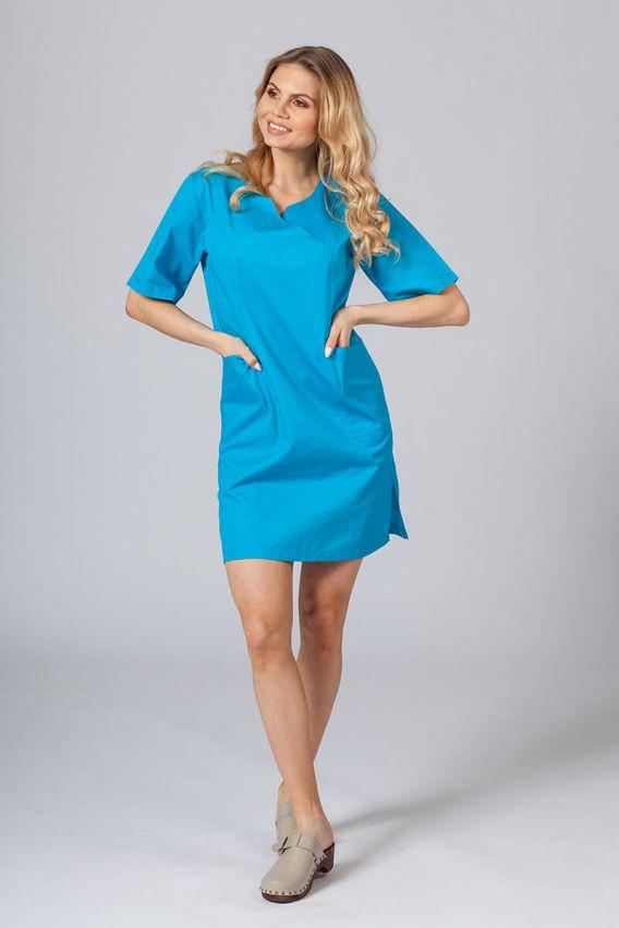 sukienki Sukienka medyczna damska klasyczna Sunrise Uniforms turkusowa