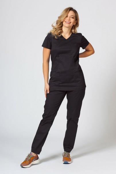 bluzy-medyczne-damskie Bluza medyczna damska Sunrise Uniforms Fit (elastic) czarna