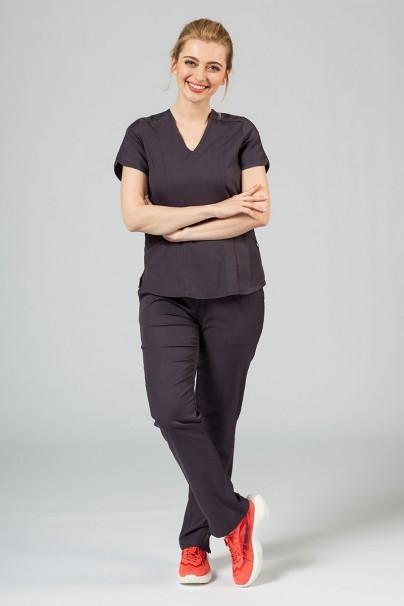 spodnie-medyczne-damskie Spodnie damskie Adar Uniforms Leg Yoga grafitowe