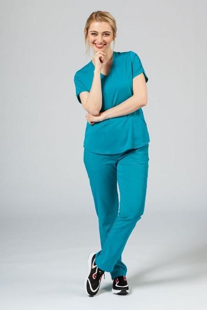 spodnie-medyczne-damskie Spodnie damskie Adar Uniforms Leg Yoga morski błękit