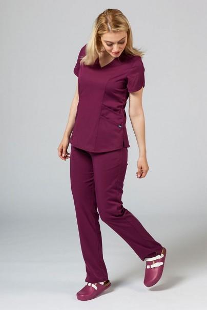 spodnie-medyczne-damskie Spodnie damskie Adar Uniforms Leg Yoga wiśniowe