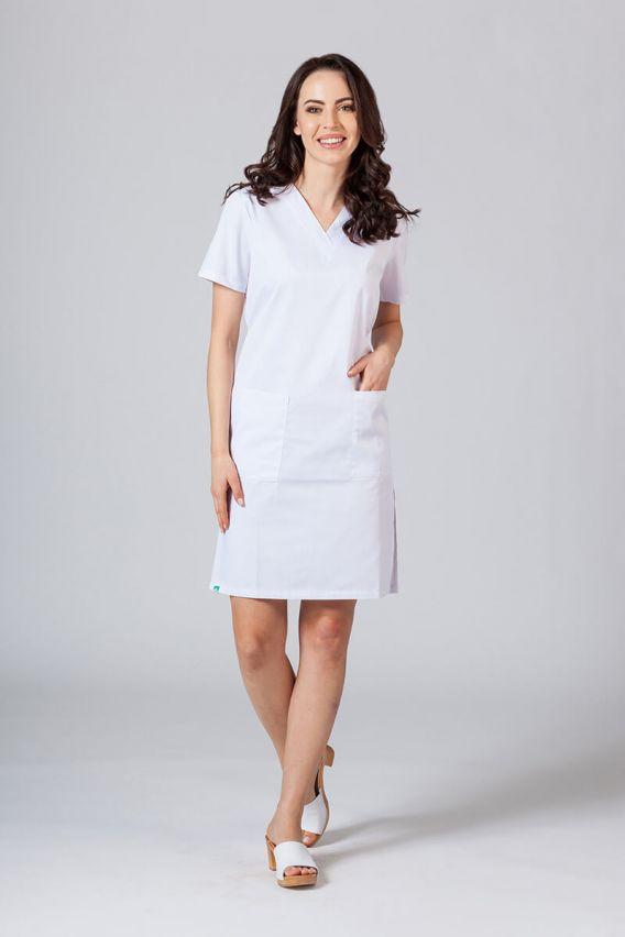 sukienki Sukienka medyczna damska prosta Sunrise Uniforms biała