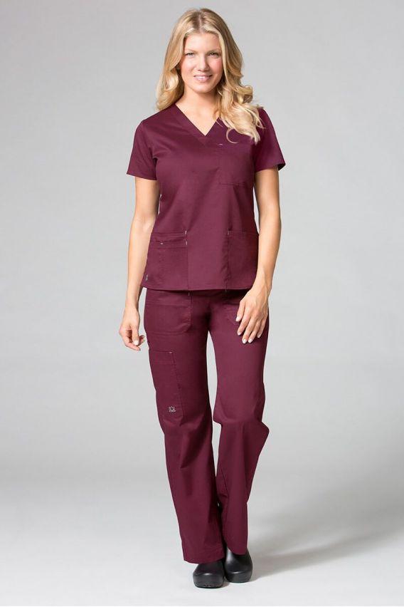 bluzy-medyczne-damskie Bluza damska Maevn Blossom (elastic) wiśniowa