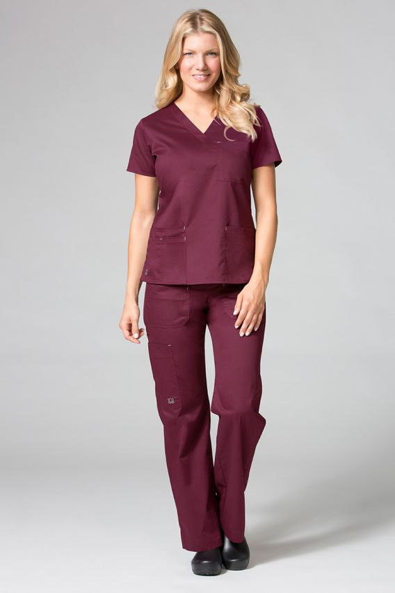 spodnie-medyczne-damskie Spodnie medyczne damskie Maevn Blossom (elastic) wiśniowe