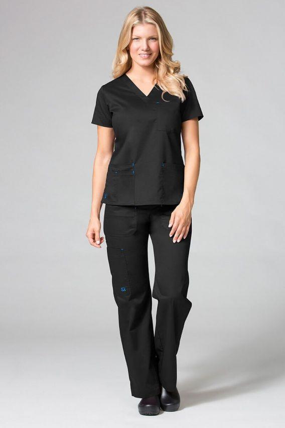 bluzy-medyczne-damskie Bluza damska Maevn Blossom (elastic) czarna