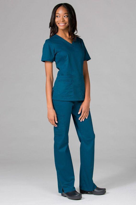 bluzy-medyczne-damskie Bluza damska Maevn Blossom (elastic) karaibski błękit