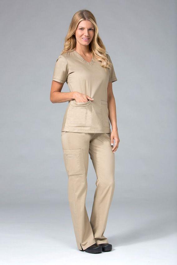 bluzy-medyczne-damskie Bluza damska Maevn Blossom (elastic) beżowa
