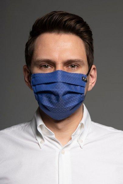 maski-ochronne Maska ochronna Classic, 2-warstwowa z kieszonką na filtr (100% bawełna), unisex, granatowa + wzór
