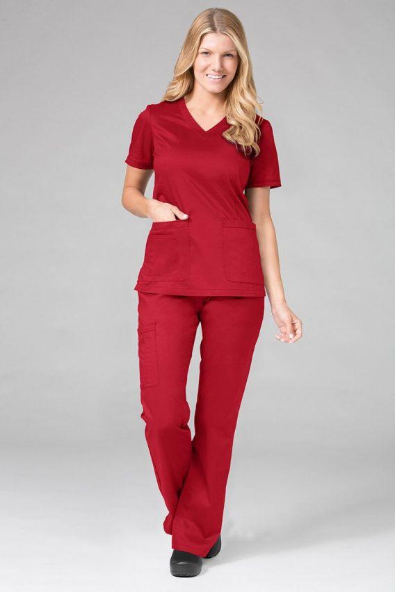 bluzy-medyczne-damskie Bluza damska Maevn Blossom (elastic) czerwona