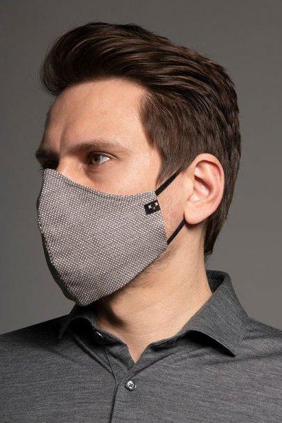 maski-ochronne Maska ochronna Heritage, 2-warstwowa (70% bawełna, 28% len, 2% elastan) z bambusowym wnętrzem, unisex, brązowo-beżowa