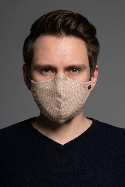 maski-ochronne Maska ochronna Heritage, 2-warstwowa (70% bawełna, 28% len, 2% elastan) z bambusowym wnętrzem, unisex, beżowa