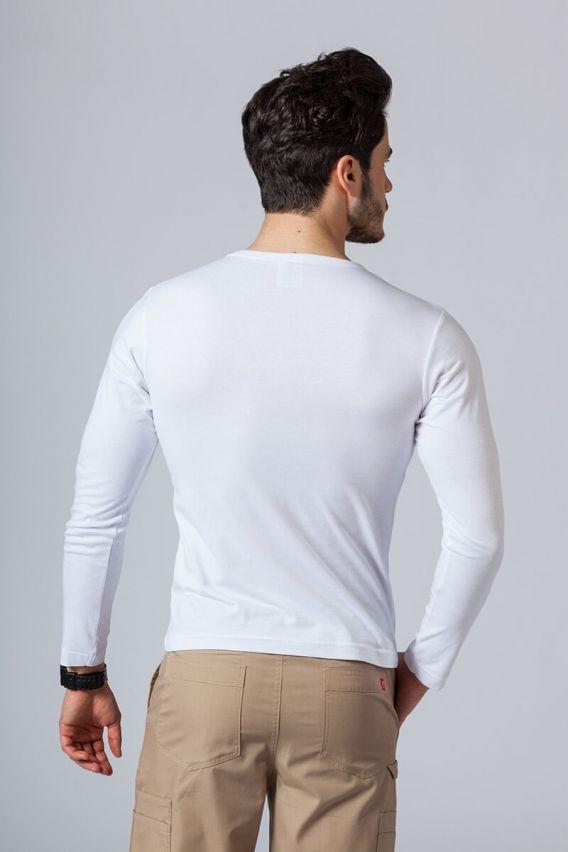 koszulki-medyczne-meskie Koszulka męska z długim rękawem biała