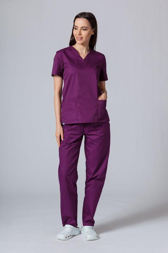 bluzy-medyczne-damskie Bluza medyczna damska Sunrise Uniforms ciemna oberżyna taliowana