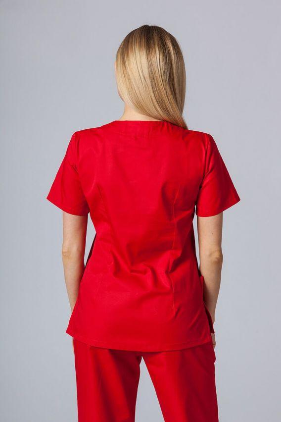 bluzy-medyczne-damskie Bluza medyczna damska Sunrise Uniforms czerwona taliowana