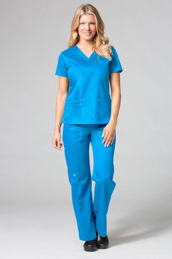 bluzy-medyczne-damskie Bluza damska Maevn Blossom (elastic) niebieska