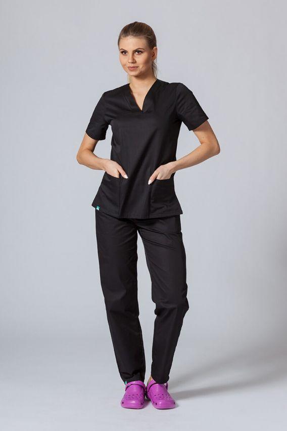 bluzy-medyczne-damskie Bluza medyczna damska Sunrise Uniforms czarna taliowana